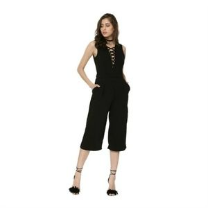 AX Paris Jumpsuit Sexy Laced Criss Cross Front NWT